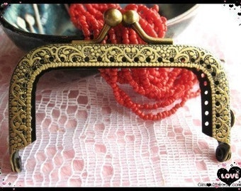 7.5cm (2 3/4 inch) embossed vintage metal purse frame (color antique brass)-1piece