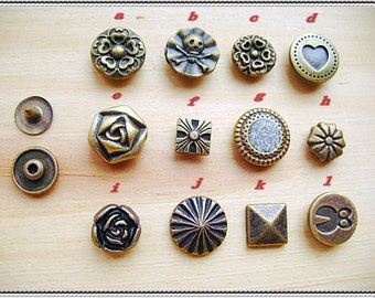 11sets-fancy Rivet buttons for bag purse making (antique brass color)-(11patterns for choose)