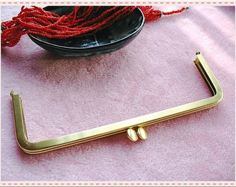 18cm(7inch) fancy flat-bead rectangle metal purse frame (polished gold color)-1piece