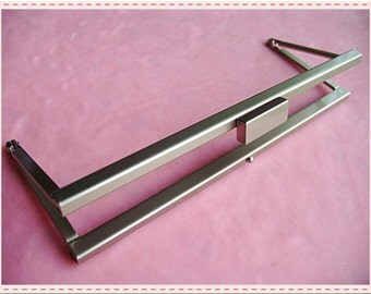 17cm (6 5/8 inch) fancy rectangle-bead metal purse frame (pearilized silver nickel color)-1piece Excellent