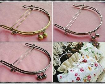 16.5cm (6 1/2 inch) fancy handle style metal purse frame (3colors)-1piece