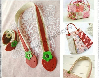 1pair-Strawberry / Apple Leather handles  purse bag handles (red/pink color-3types for choice)