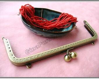 20cm(8 inch) fancy embossed rectangle metal purse frame (antique brass color)-1piece