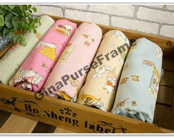 1yard--Linen Cotton Fabric - Happy life of Mrs goat handmaker  (5color for choice)