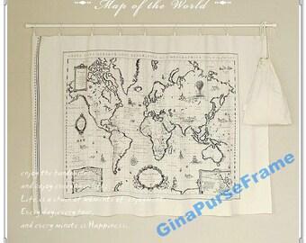 Fat Quarter--Linen Cotton Fabric - Map of the world