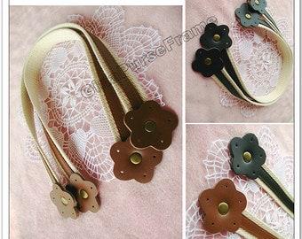 1pair-Flower Leather handles  purse bag handles (black/brown color)