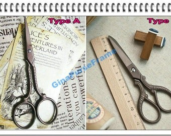 Antique-style Cutting scissors for fabric purse bag making (2type available)-1piece