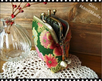 Blooming peonies Coin metal purse / Coin Wallet / Pouch coin purse / Kiss lock frame purse bag-GinaHandmade