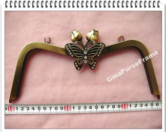 26cm (10 1/4inch) Rose and Butterfly bead Metal purse frame large size with sewing holes inside (antique brass color)-1piece