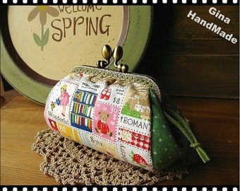 Spring Stamps Metal frame purse/coin purse / Coin Wallet /Pouch / Kiss lock frame bag-GinaHandMade