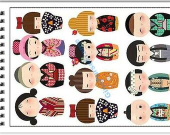 Fabric Stickers -Kimono Japanese Dolls
