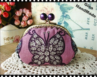 Purple Butterfly  Metal frame purse/coin purse / Coin Wallet /Pouch / Kiss lock frame bag-GinaHandMade
