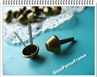 20pieces-12cm Purse feet stud  for bag purse making (antique brass color)