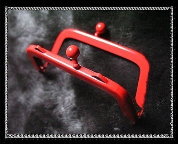 7cm (2 3/4 inch) cute red painting purse metal frame (red baking varnish)-1piece