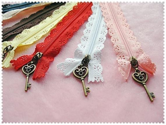 7pieces  Rainbow color lace zipper for purse making- antique key puller (purse bag metal frame)