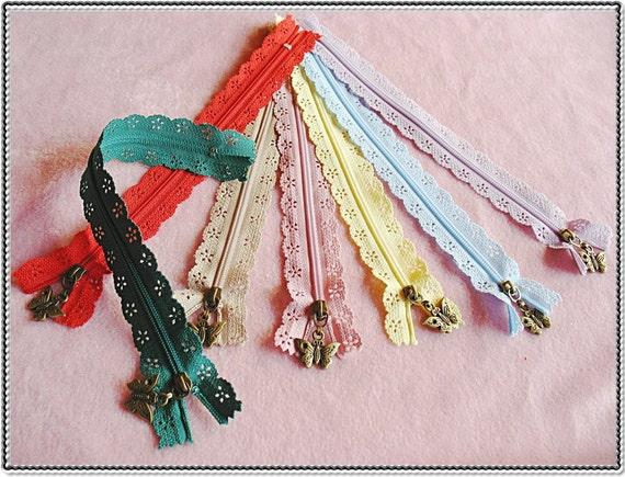 7pieces- Rainbow color lace zipper for purse making- butterfly puller (purse bag metal frame)
