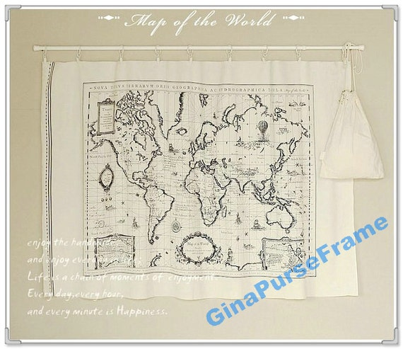 Fat Quarter--Linen Cotton Fabric - Map of the world