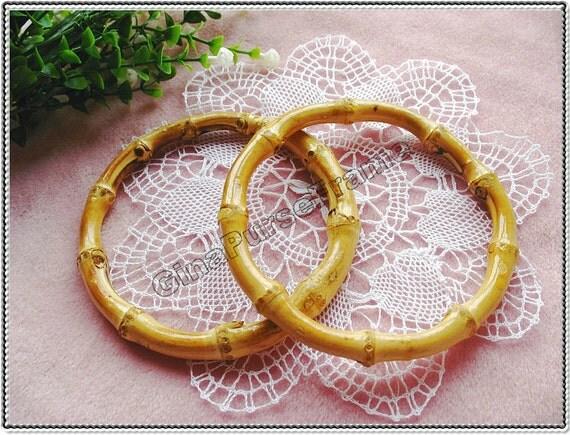 12cm (4 3/4inch) 1pair Bamboo circle-shape purse bag handles (natural color)