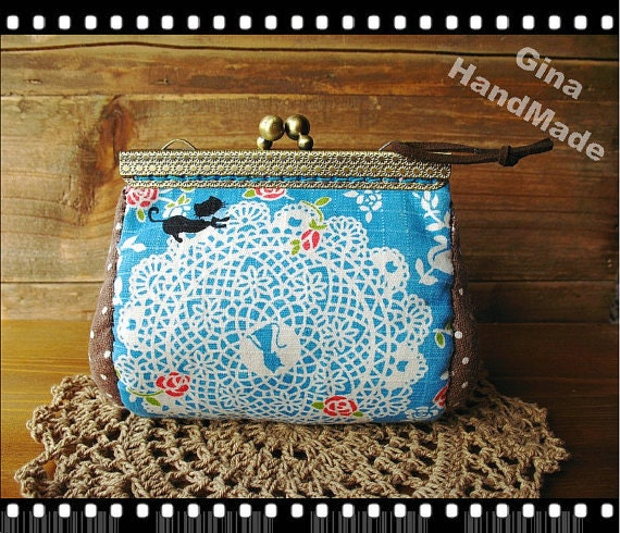 Blue Lace and Cat Metal frame purse  / Coin Wallet / Bridal clutch/Pouch / Kiss lock frame bag-GinaHandMade