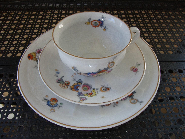 Vintage Swiss China Set Suisse Langenthal Floral Trio Tea Cup