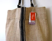 Black Stripe Burlap Tote Bag with Leather Handles. Large Sturdy Shopper .Beach Bag.