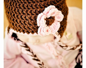 CROCHET PATTERN - Snuggly Earflap Hat with Daisy - Sizes to fit preemies to adults - PDF 113 - Sell what you Make