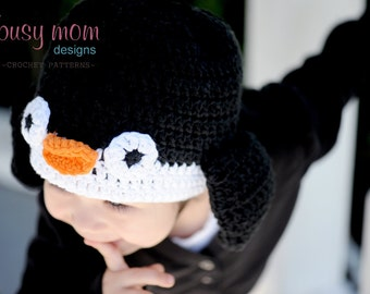 CROCHET Hat PATTERN - Penguin Beanie - ALL sizes included from preemies to adults - Easy - pdf 121