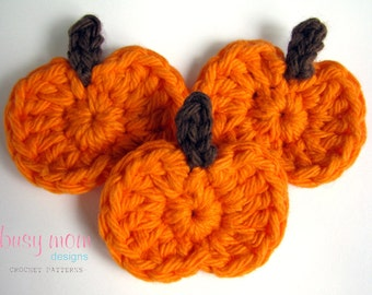 CROCHET PATTERN - Simple Pumpkin Appliqué - Motif - Embellishment - Great for any Autumn or Halloween Project - PDF 206 - Sell what you Mak