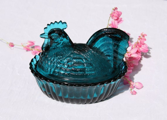 Charming Deep Teal Glass Nesting Hen Dish