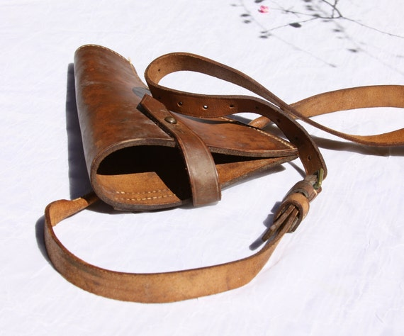 Vintage Brown Leather Gun Holster With 51 Inch Strap