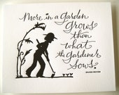 LETTERPRESS ART PRINT- More in a garden grows than what the gardener sows. Spanish Proverb