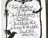 LETTERPRESS ART PRINT- From ghoulies and ghosties... Scottish Proverb
