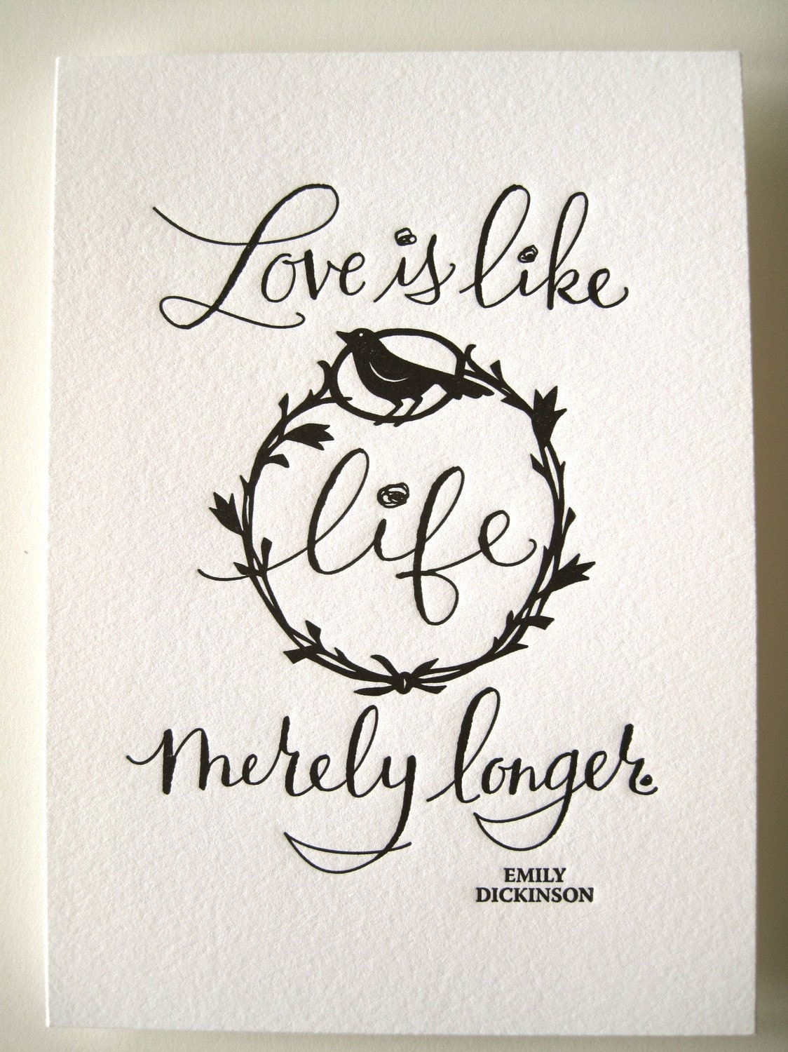 letterpress art print love is like life merely by