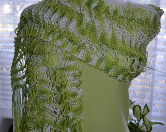 Cotton Scarf in Greens 262