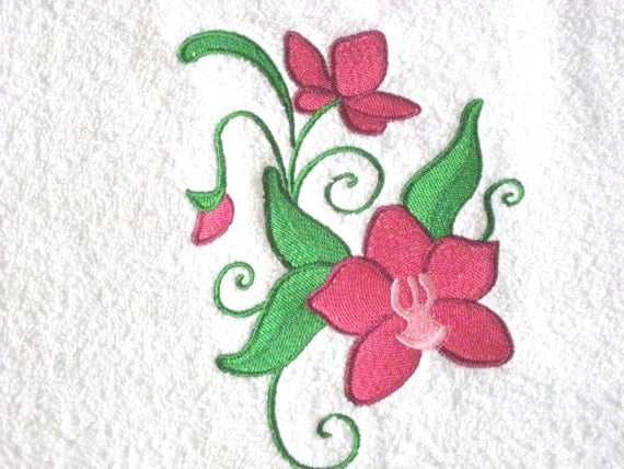 Wild Orchid Embroidered Hand Towel