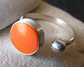 Orange Coral Ring with Sterling Silver