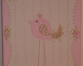 Canvas Wall Art hand painted Birds and Roses Shabby Chic, Kids, GOLD  Pink