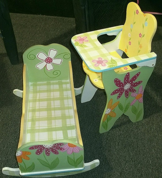 Doll High Cradle and Doll High Chair DAISY GARDEN Combo