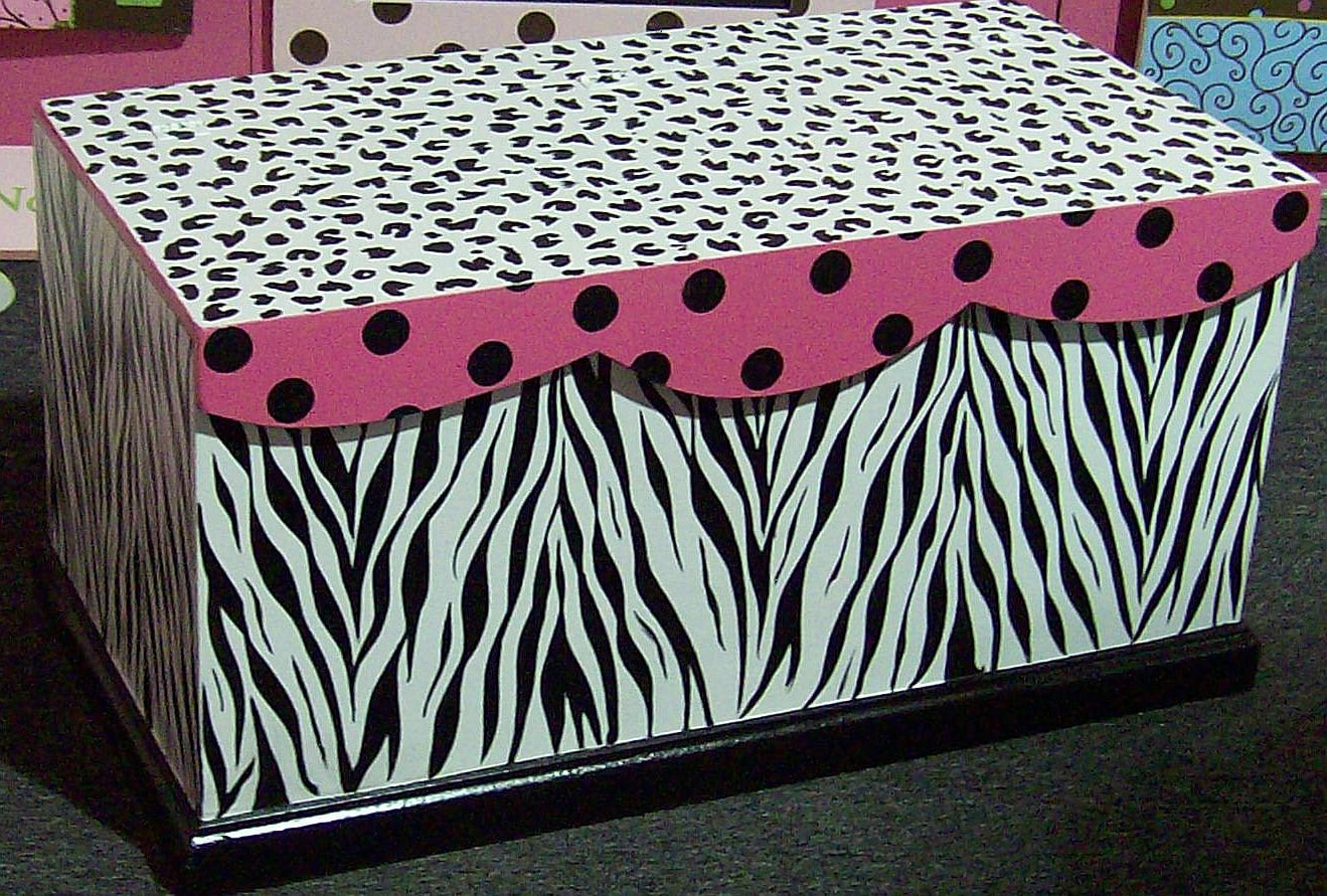 Zebra Hot Pink Toy Chest Toybox Can Layaway