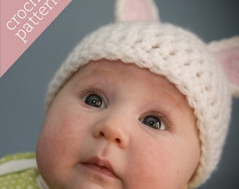 CROCHET PATTERN PDF - Zoo Caps - Fuzzy Bunny Hat - Infant/Baby/Toddler/Child sizes
