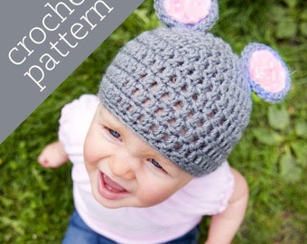 CROCHET PATTERN PDF - Zoo Caps - Merry Mouse Hat - Infant/Baby/Toddler/Child sizes