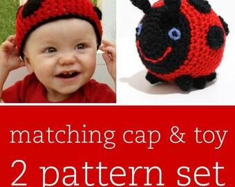 2 CROCHET PATTERN SET - Little Ladybug Cap & Amigurumi Toy - child/baby/toddler sizes for cap
