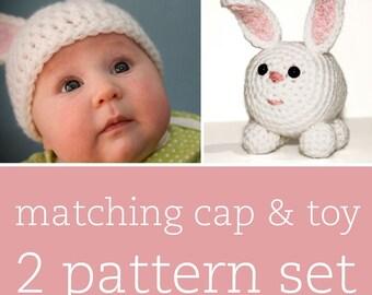 2 CROCHET PATTERN SET - Fuzzy Bunny Cap & Amigurumi Toy - child/baby/toddler sizes for cap