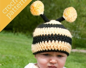 CROCHET PATTERN PDF - Zoo Caps - Itty-Bitty Bee - Infant/Baby/Toddler/Child sizes