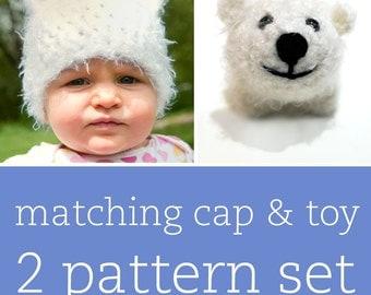 2 CROCHET PATTERN SET - Playful Polar Bear Cap & Amigurumi Toy - child/baby/toddler sizes for cap