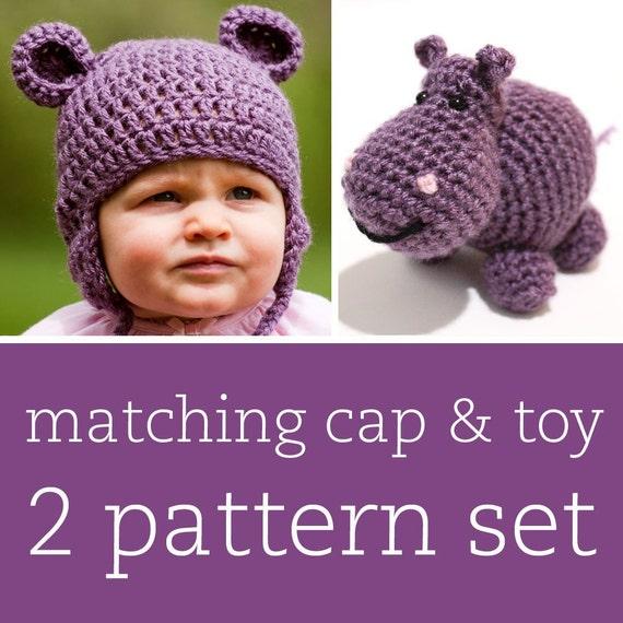 2 CROCHET PATTERN SET - Happy Hippo Cap & Amigurumi Toy - child/baby/toddler sizes for cap