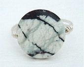 RING - 10% OFF - Made to order in any size - Spiders Web Jasper, Black and White ring - Wire Wrapped in Sterling Silver - 15 mm small stone