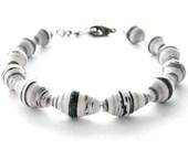 15% OFF - Zebra - Black & White Stripe - Paper Bead Bracelet