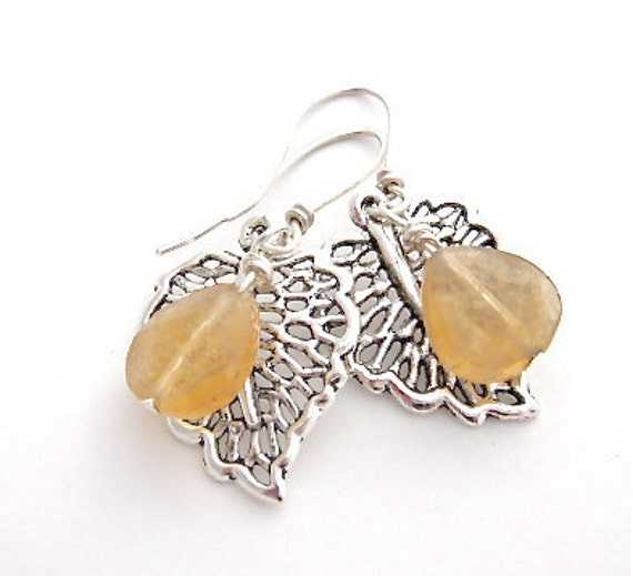 SALE - 20% Off - Leaf dangle Earrings with Citrine