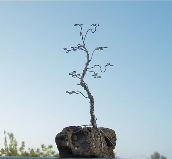 RESERVED FOR MUDDYPUPPYS - S2 - Small Jewelry Tree/ Wire Sculpture on Natural Rock